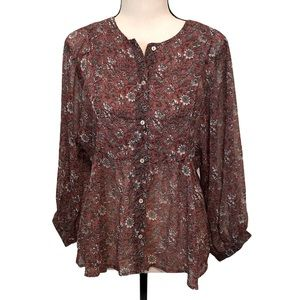 Lucky Brand | button down peasant blouse